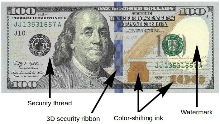 100 Dollar Bill Security Features