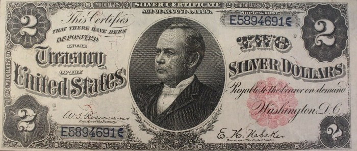 1891 Two Dollar Silver Certificate