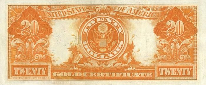 1906 20 Dollar Gold Certificate Reverse