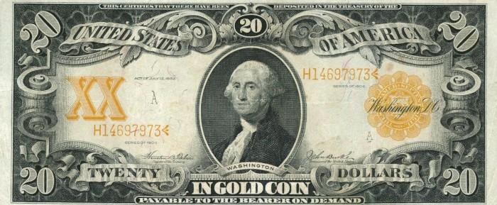 1906 20 Dollar Gold Certificate