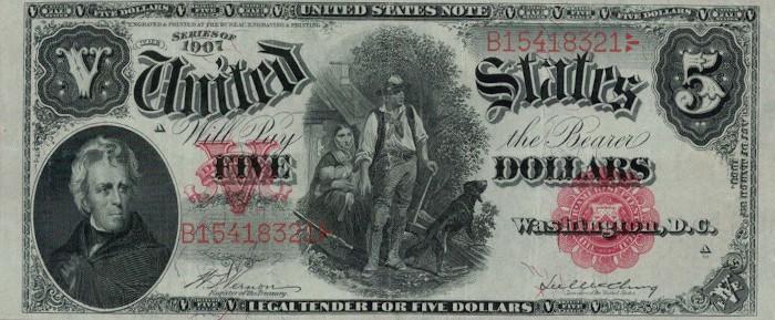 1907 5 Dollar Bill