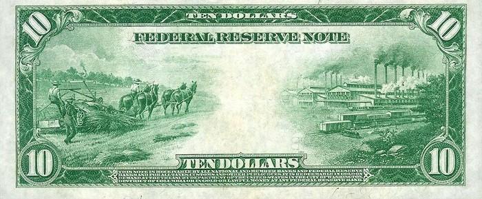1914 10 Dollar Bill Reverse