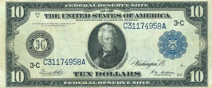 1914 10 Dollar Bill