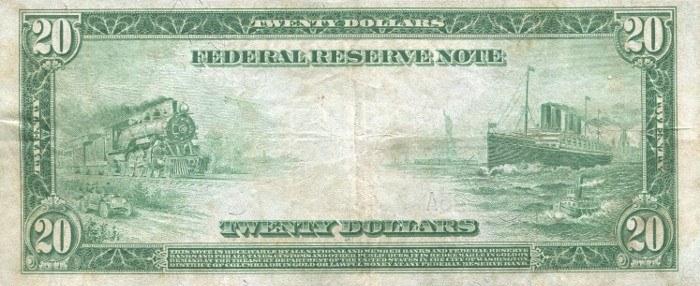 1914 20 Dollar Bill Reverse