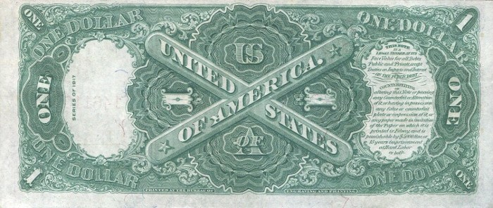 1917 One Dollar Bill Reverse