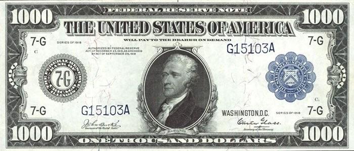 1918 1000 Dollar Bill