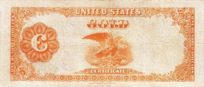1922 100 Dollar Gold Certificate Reverse