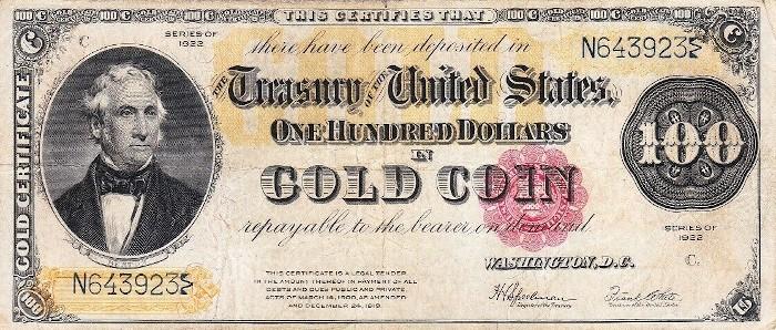 1922 100 Dollar Gold Certificate