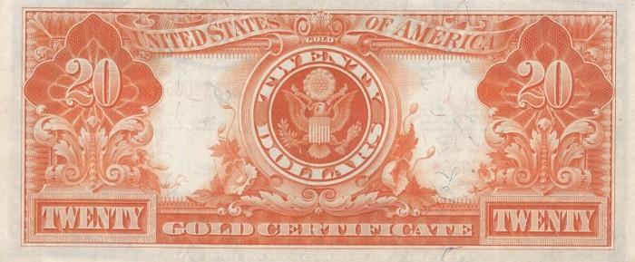 1922 20 Dollar Gold Certificate Reverse