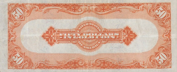1922 50 Dollar Gold Certificate Reverse