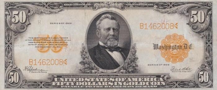 1922 50 Dollar Gold Certificate