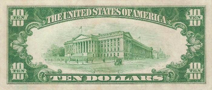 1928 10 Dollar Bill Reverse