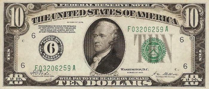 1928 10 Dollar Bill