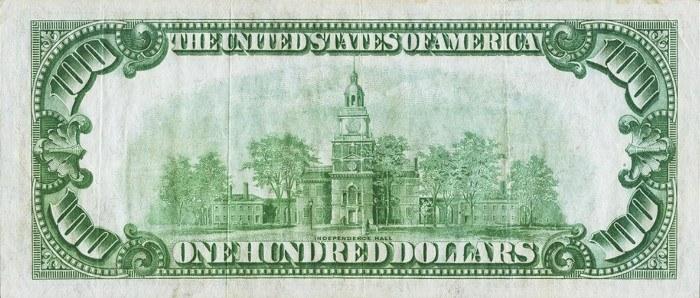 1928 100 Dollar Bill Reverse