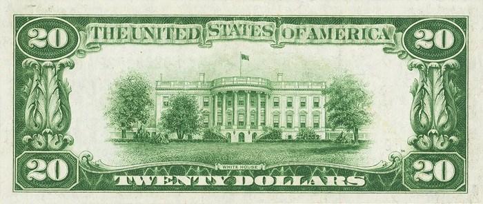 1928 20 Dollar Bill Reverse