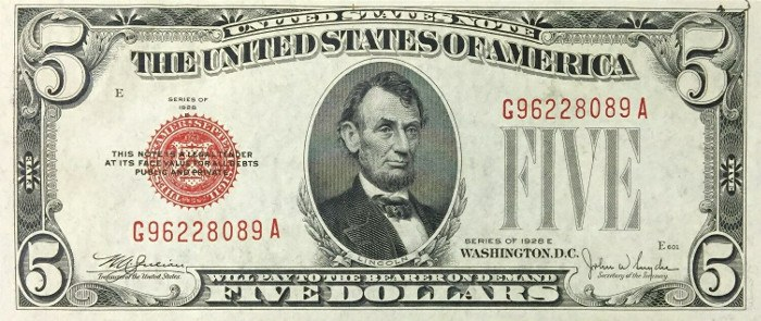 1928 5 Dollar Bill Red Seal