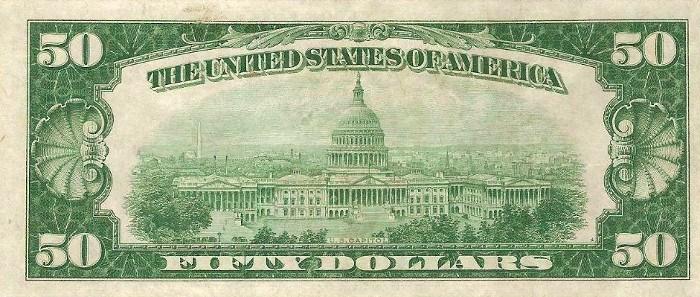 1928 50 Dollar Bill Reverse