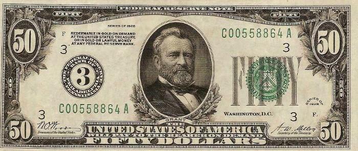 1928 50 Dollar Bill