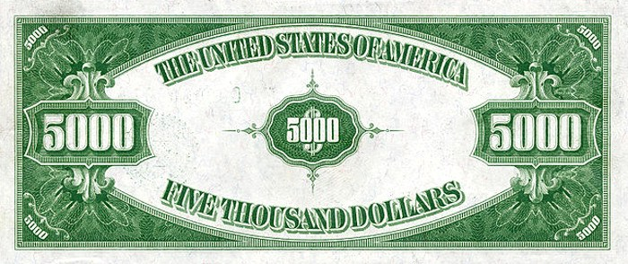 1928 5000 Dollar Bill Back