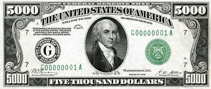 1928 5000 Dollar Bill