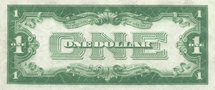 1928 One Dollar Silver Certificate Back