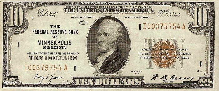 1929 10 Dollar Federal Reserve Note