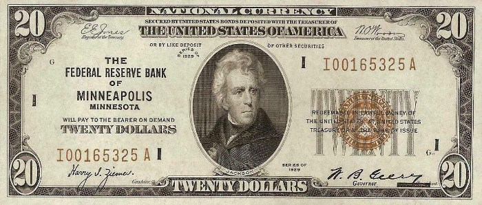 1929 20 Dollar Federal Reserve Bank Note