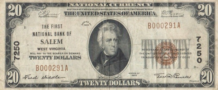 1929 20 Dollar National Bank Note
