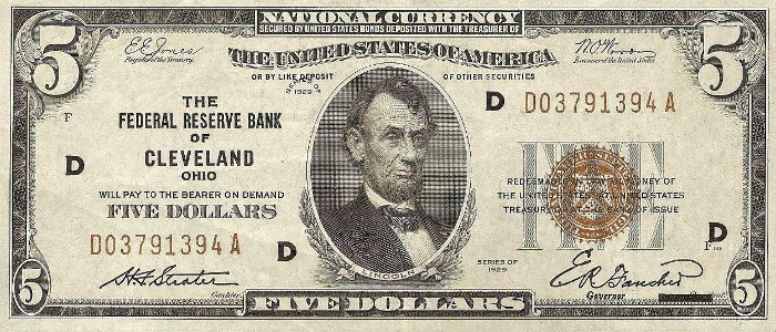 1929 5 Dollar Federal Reserve Note
