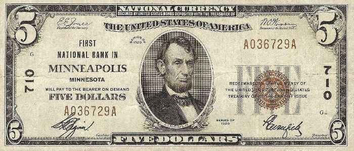 1929 5 Dollar National Bank Note
