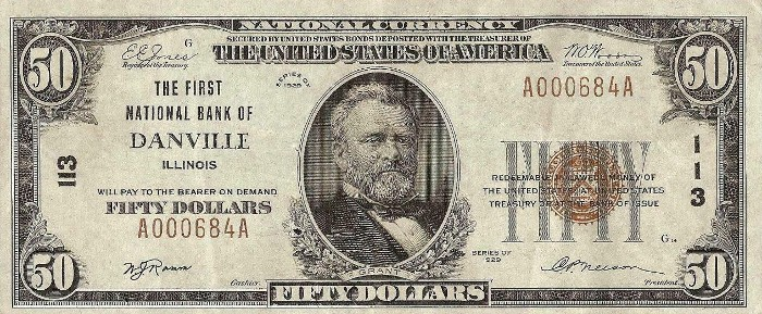 1929 50 Dollar National Bank Note