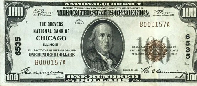 1929 Series 100 Dollar National Bank Note