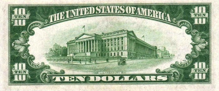 1934 10 Dollar Bill Back