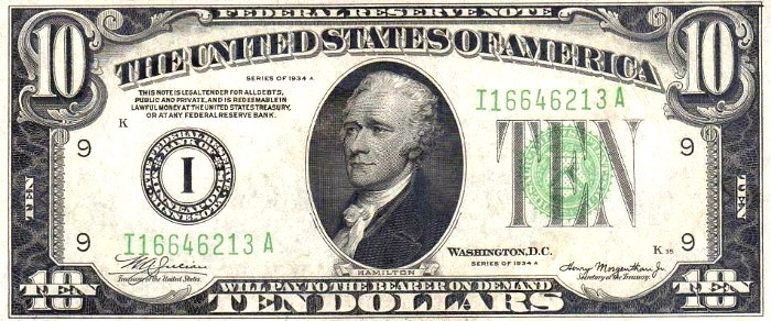 1934 USA $10 DOLLARS UNITED STATES SILVER CERTIFICATE BANK NOTE TEN DOLLARS USED