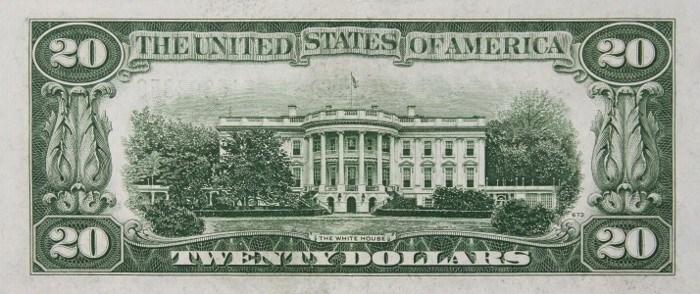 1934 20 Dollar Bill Reverse