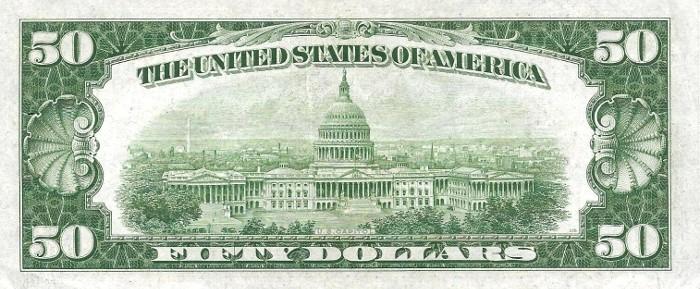 1934 50 Dollar Bill Reverse