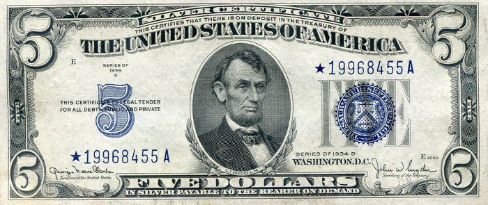 1934 Five Dollar Silver Certificate Star Note