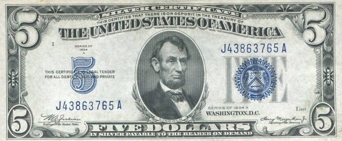 1934 Five Dollar Silver Certificate