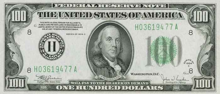 1934 Series 100 Dollar Bill