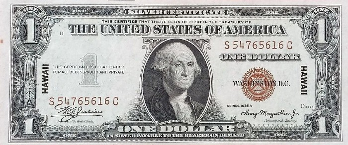 1935A One Dollar Hawaii Silver Certificate
