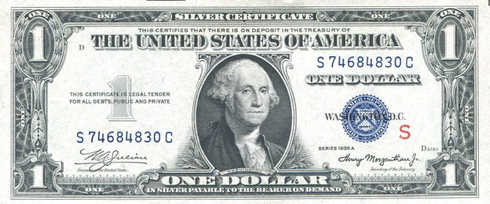 1935A One Dollar Red S Experimental Silver Certificate