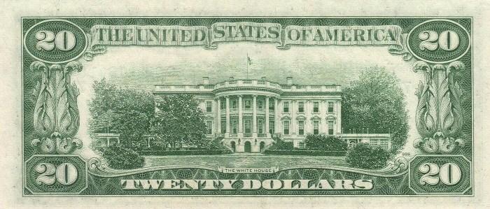 1950 20 Dollar Bill Reverse