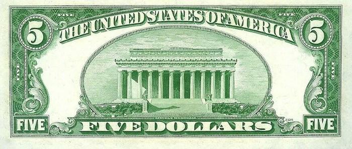 1950 5 Dollar Bill Reverse