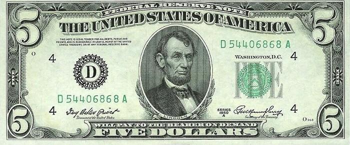1950 5 Dollar Bill