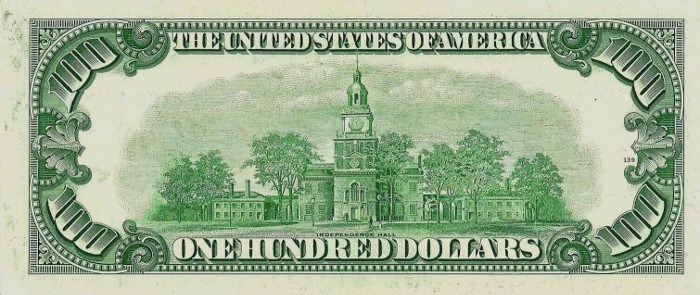 1950 Series 100 Dollar Bill Reverse