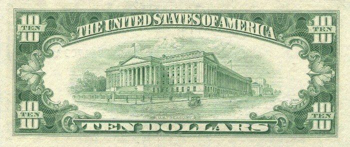 1953 10 Dollar Silver Certificate Reverse