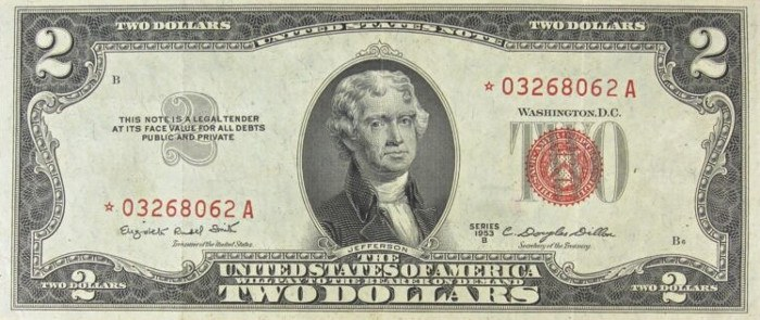 1953 2 Dollar Bill Star Note