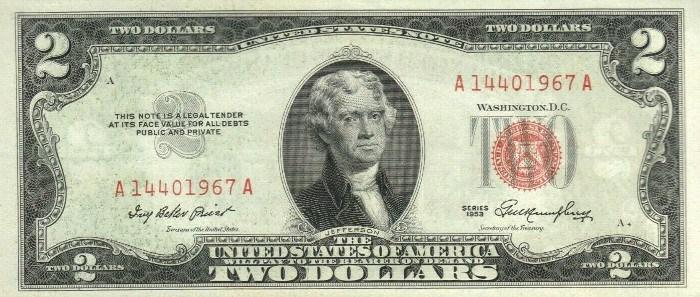 1953 2 Dollar Bill