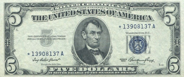 1953 Five Dollar Silver Certificate Star Note