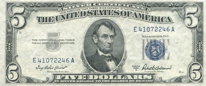 1953 Five Dollar Silver Certificate